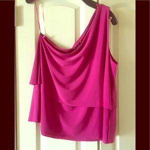 NWT H Halston One Shoulder Tiered Top L